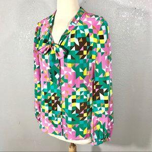 Tory Burch printed geometric silk blouse top 8 M